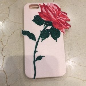 IPhone 6 phone case pink with red rose. New